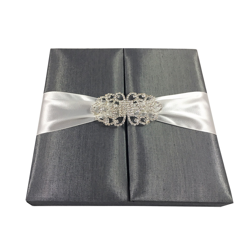 Dark Grey Boxed Wedding Invitation
