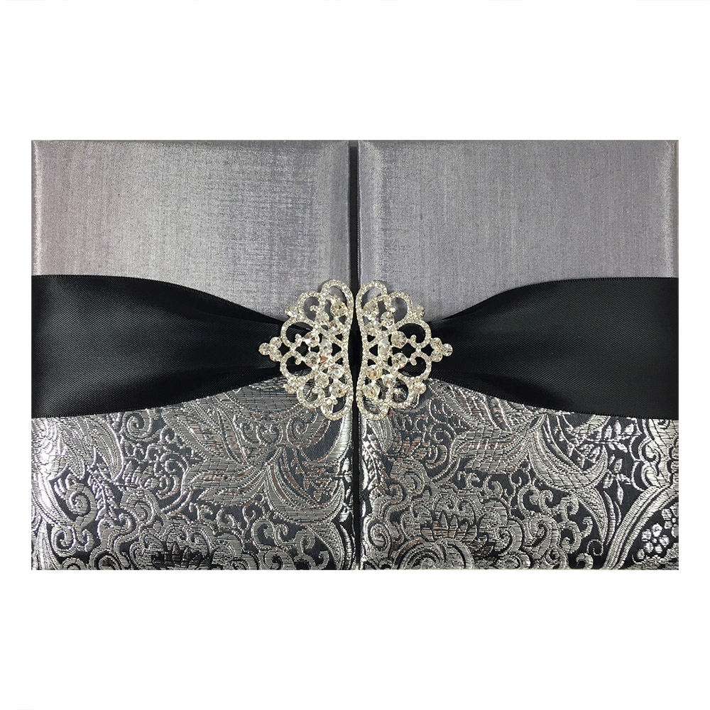 brocade wedding invitation pocket folder