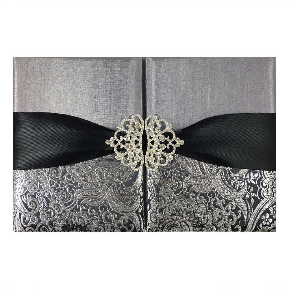 Black & Metallic Silver Brocade Wedding Invitation Pocket ...