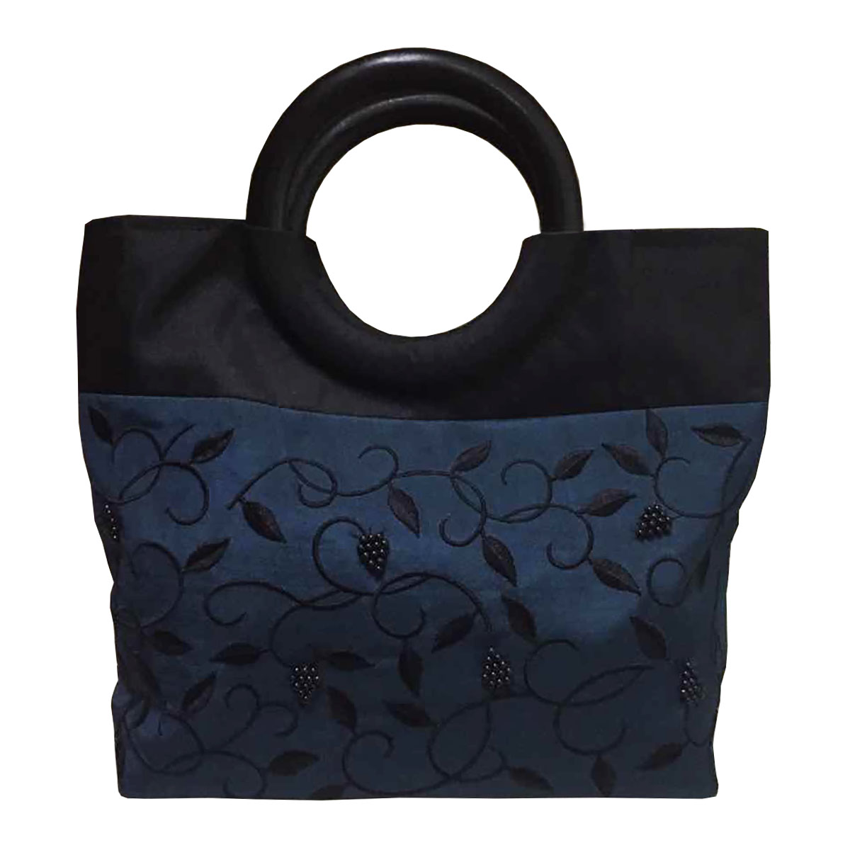 Thai silk tote fashion bag & wooden handle