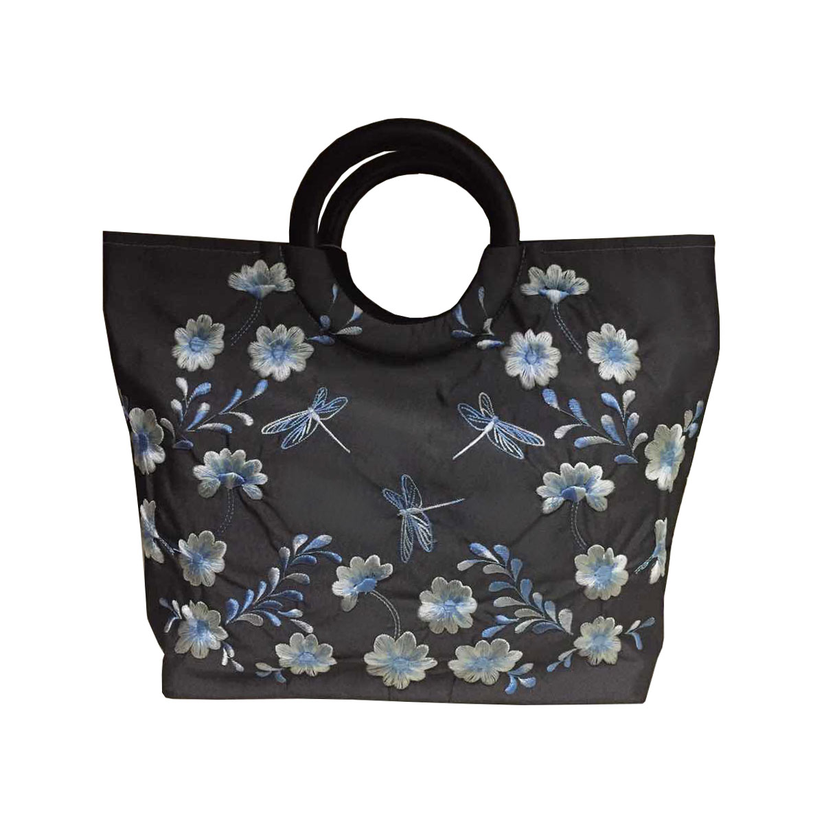 Dragonfly & flower motive embroidered slate grey silk fashion bag