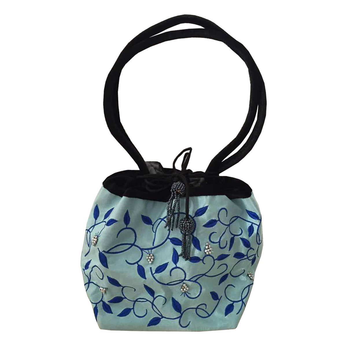 Embroidered taffeta evening bag in light blue