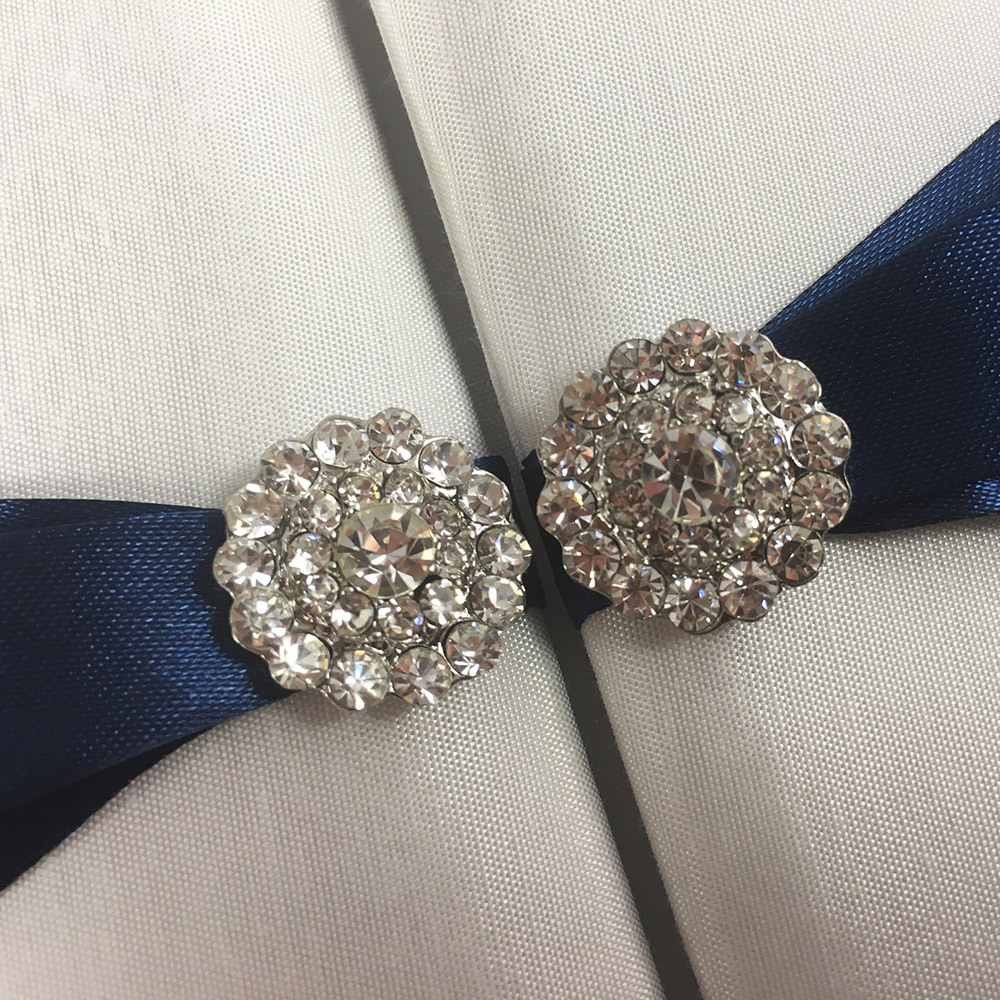 detail picture crystal button wedding embellishment