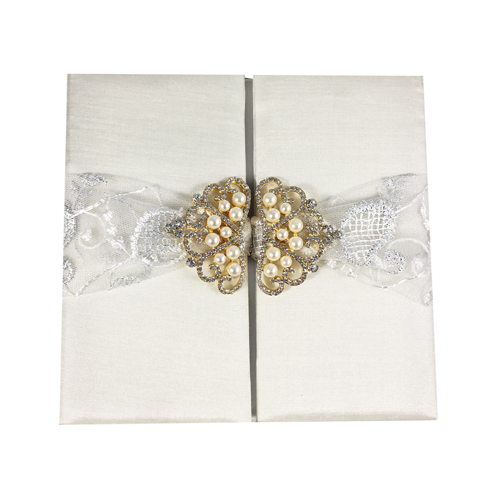 Ivory lace wedding invitation pocket folder
