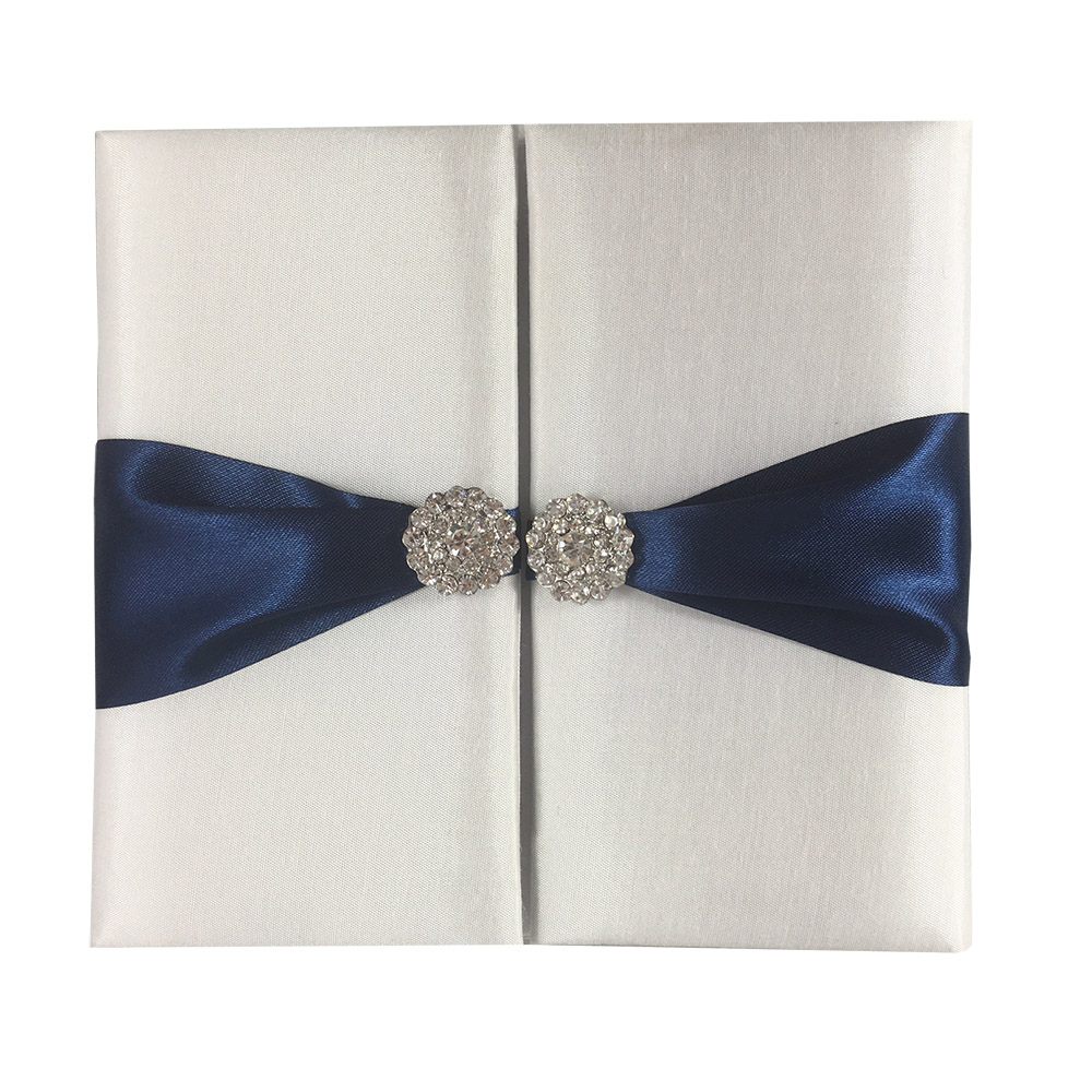 White & Navy Invitation Folder
