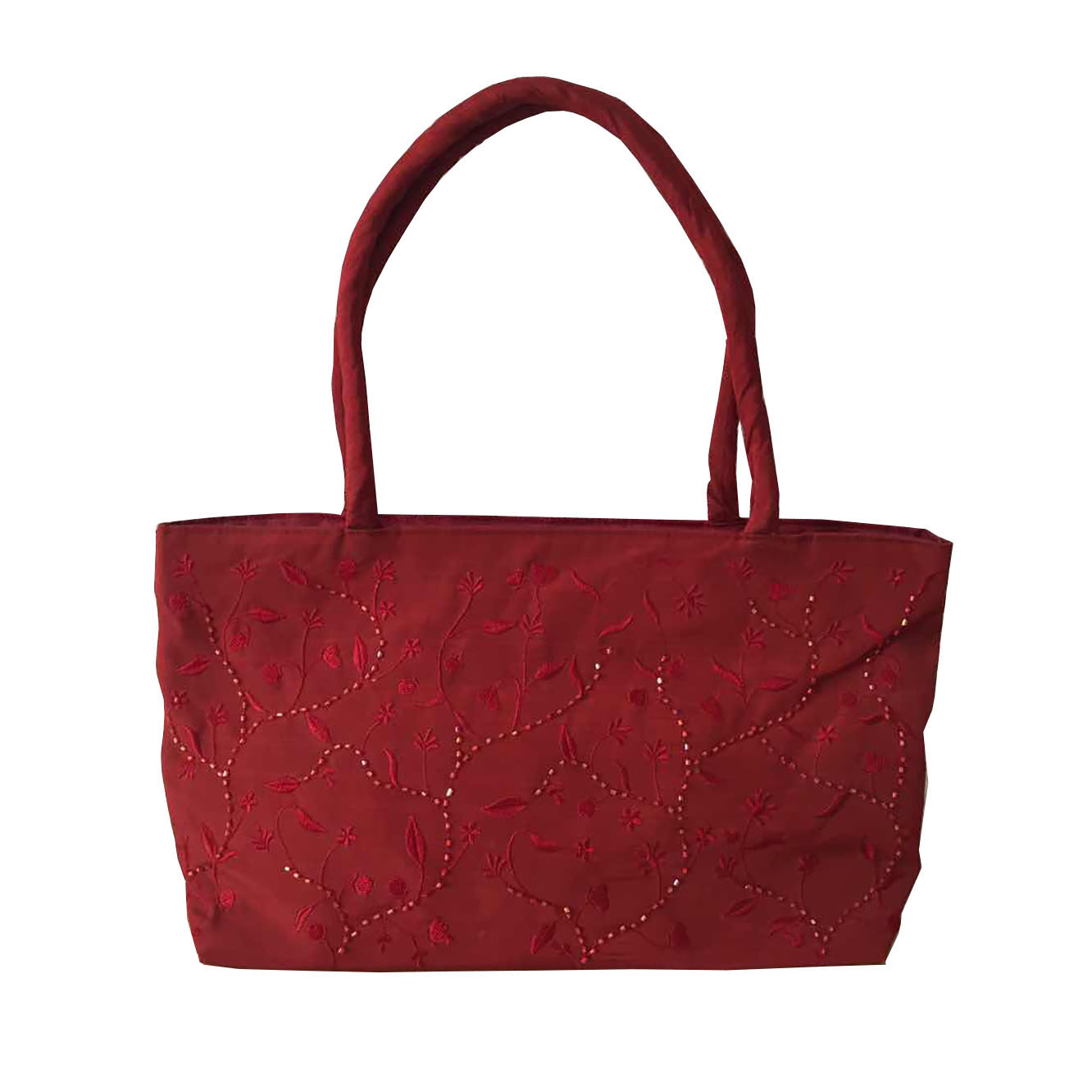 Garnet red taffeta silk shoulder bag