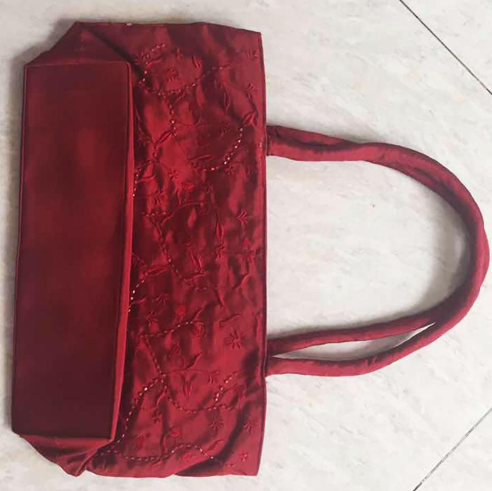 bottom of embroidered silk bag