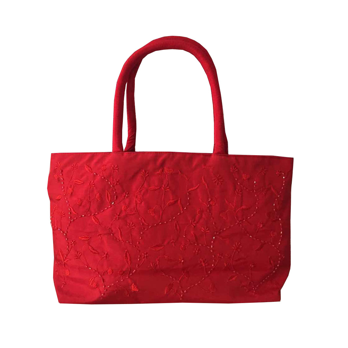 Crimson red Vietnam silk handbag