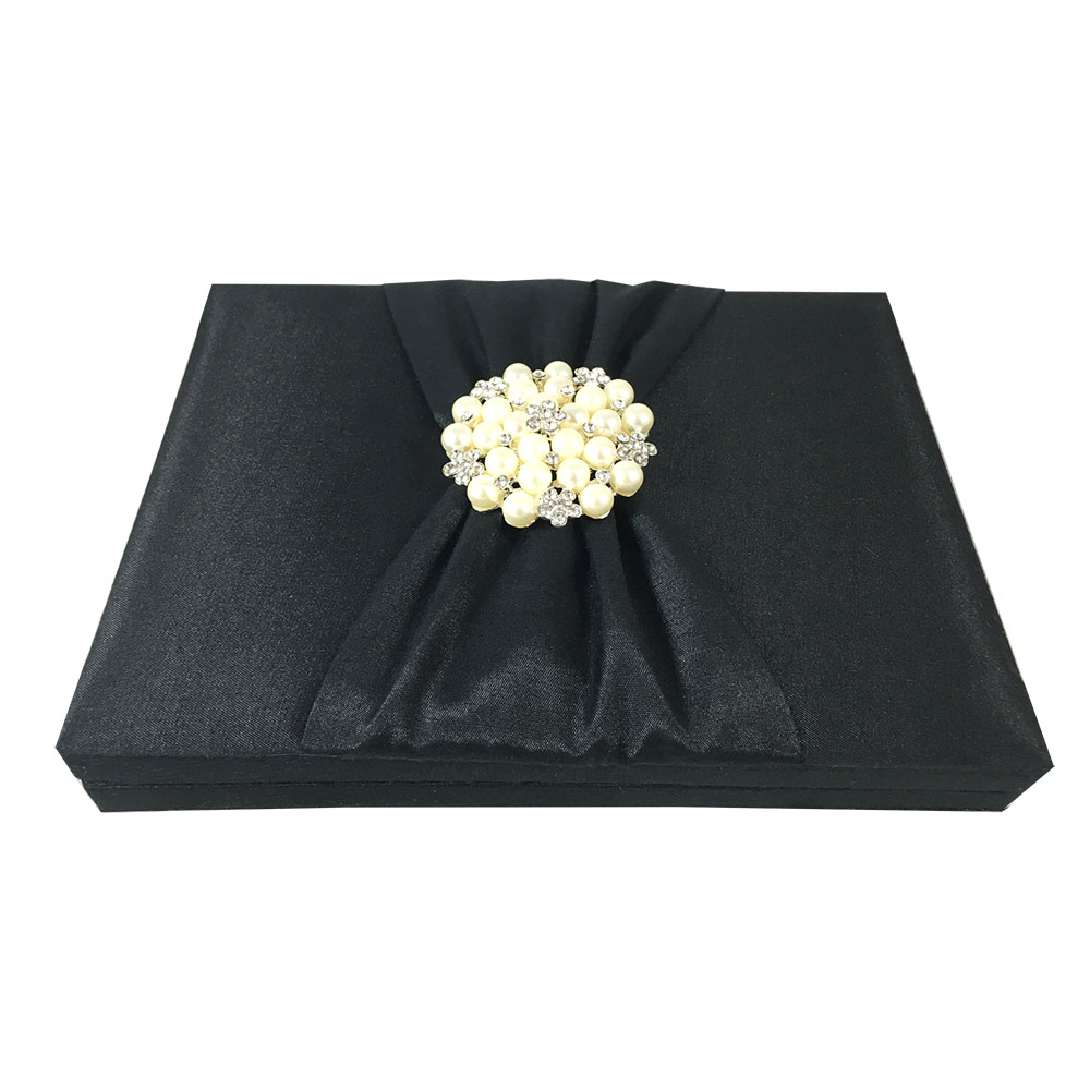 Black wedding box with pearl brooch