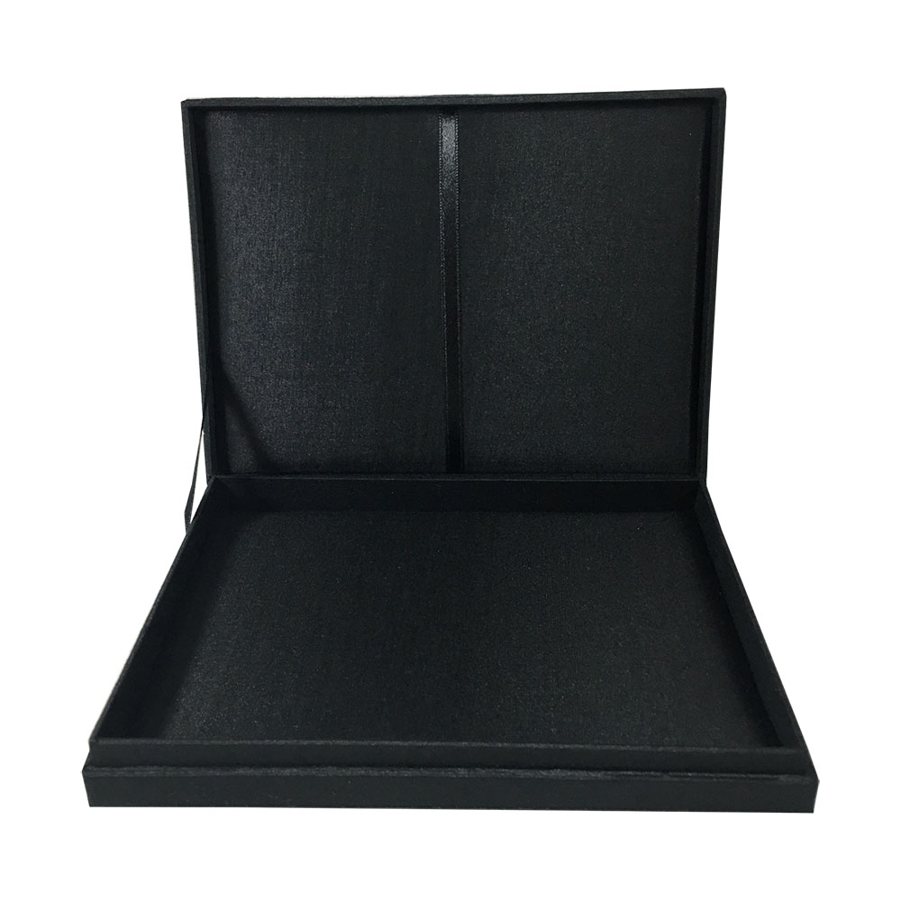Black hinged lid wedding box