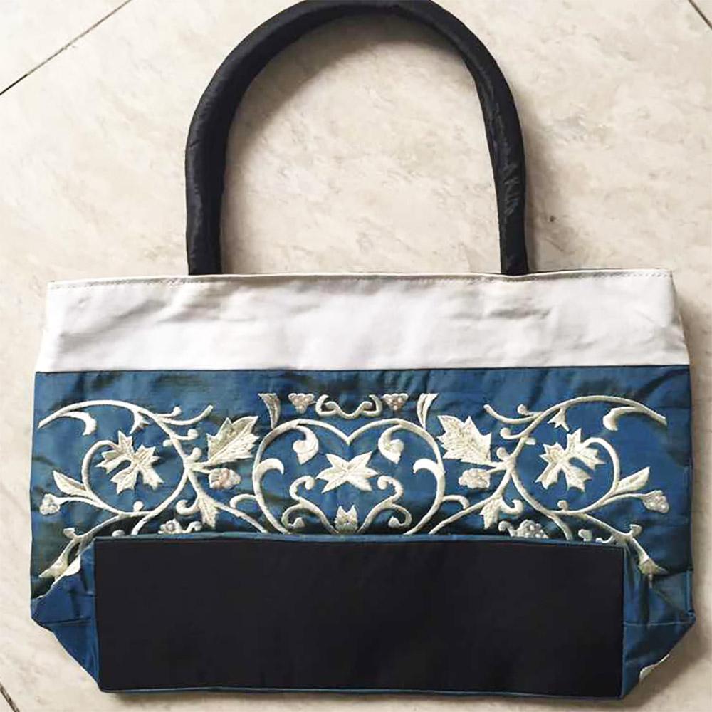Blue gray embroidered silk handbag luxury wedding