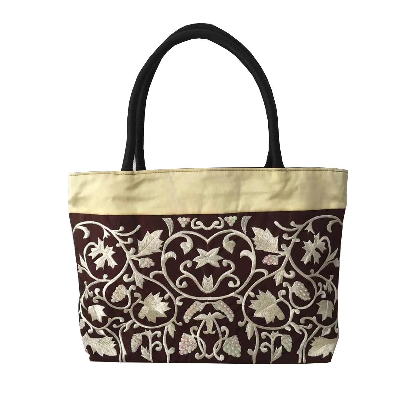 brocade embroidered silk shoulder bag