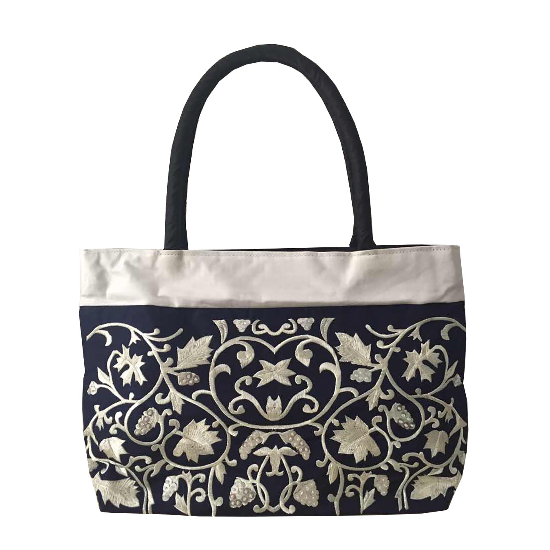 Black embroidered silk handbag