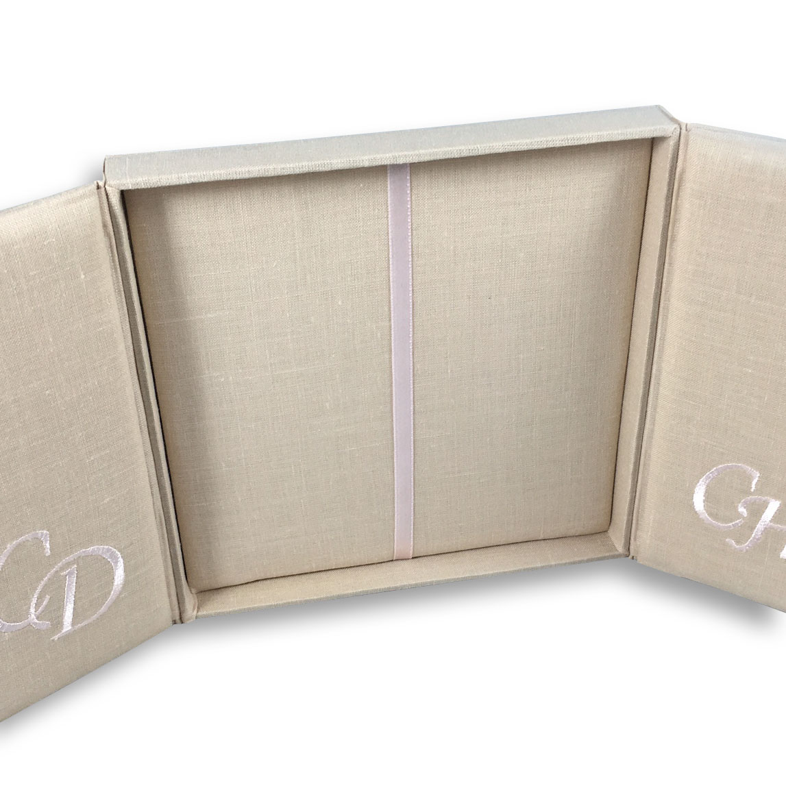 Monogram embroidered linen box