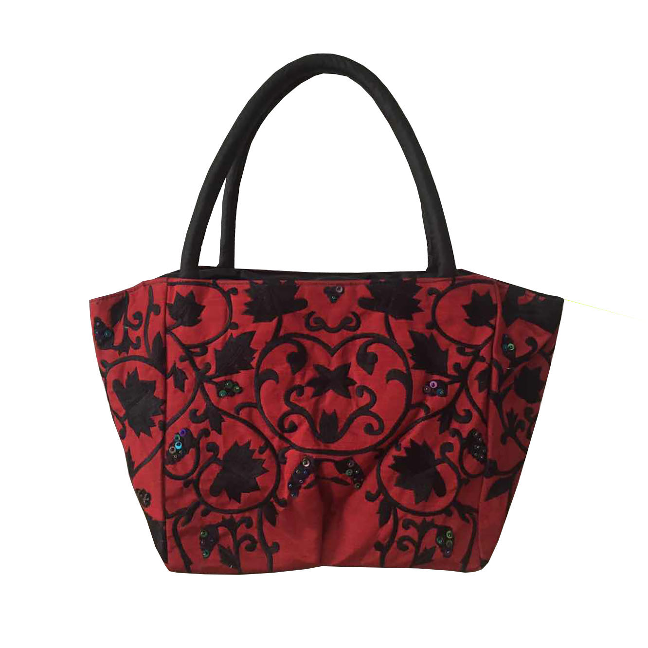 Red embroidered silk handbag