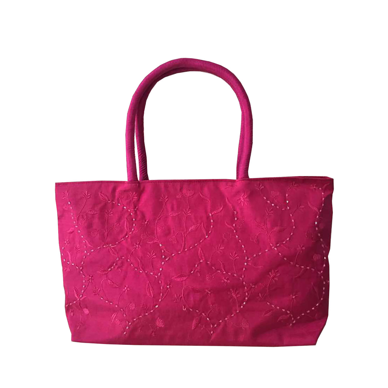 Fuchsia embroidered shoulder bag