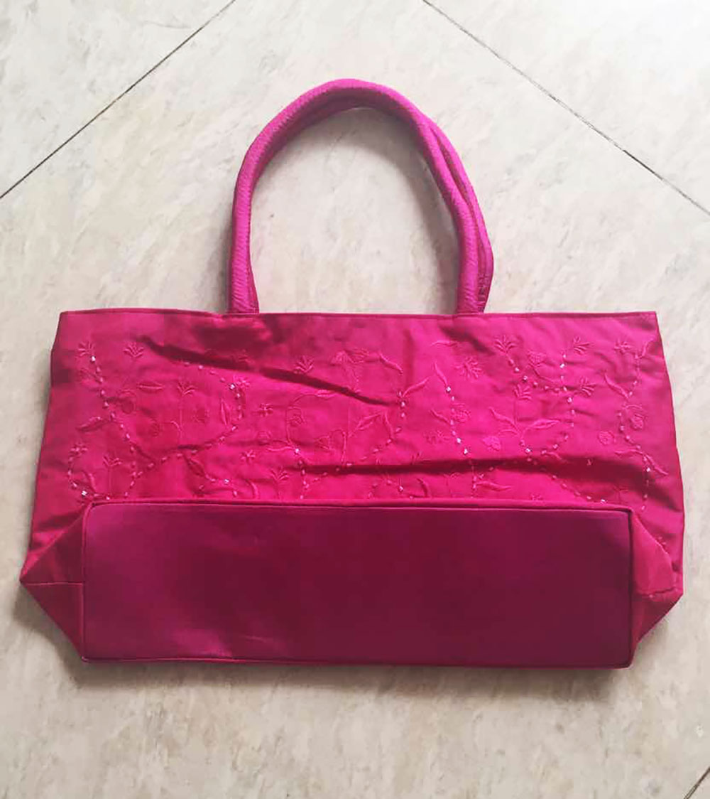 Fuchsia Embroidered Silk Shoulder Bag With Bead Work - Luxury ...