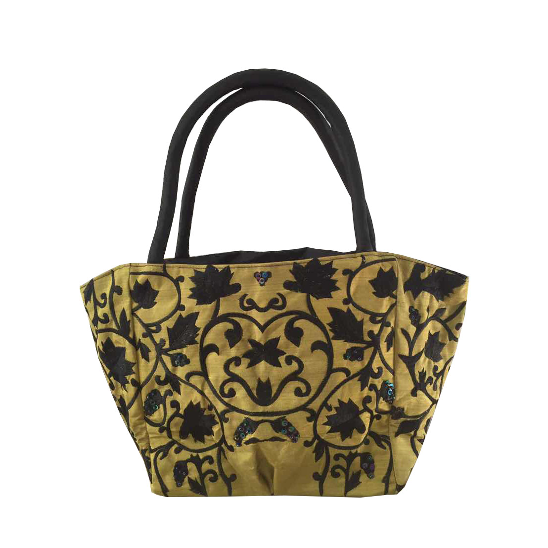 Gold silk handbag