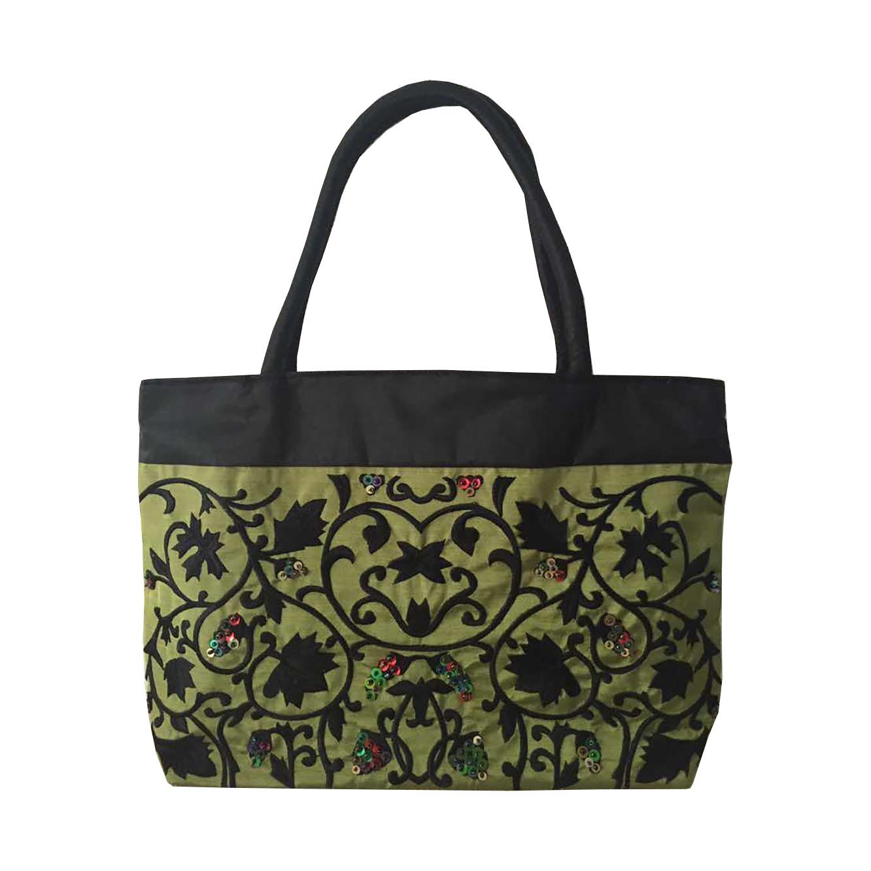 Green silk handbag