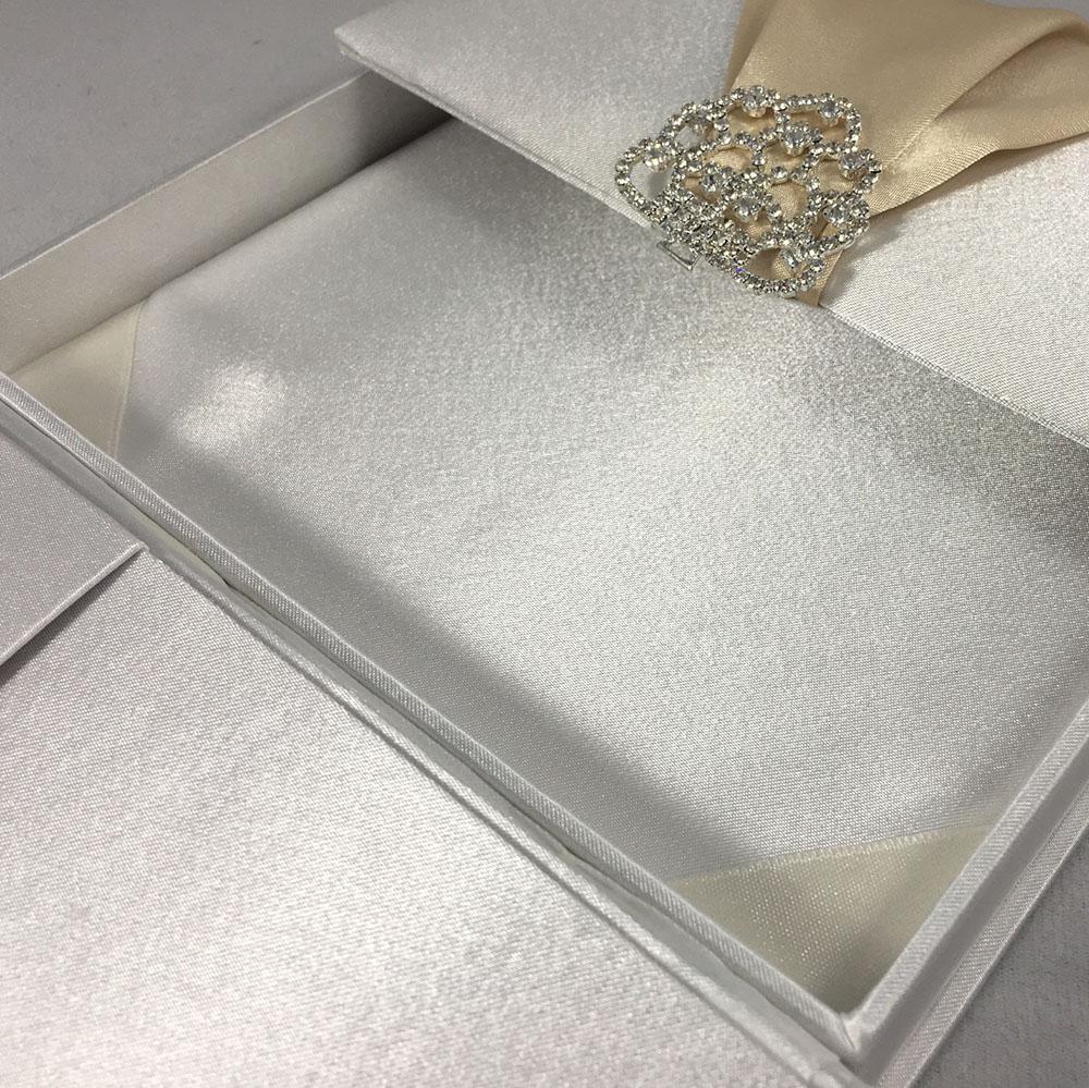 Premium Quality Satin Silk Box For Wedding Invitation Cards In Off ...