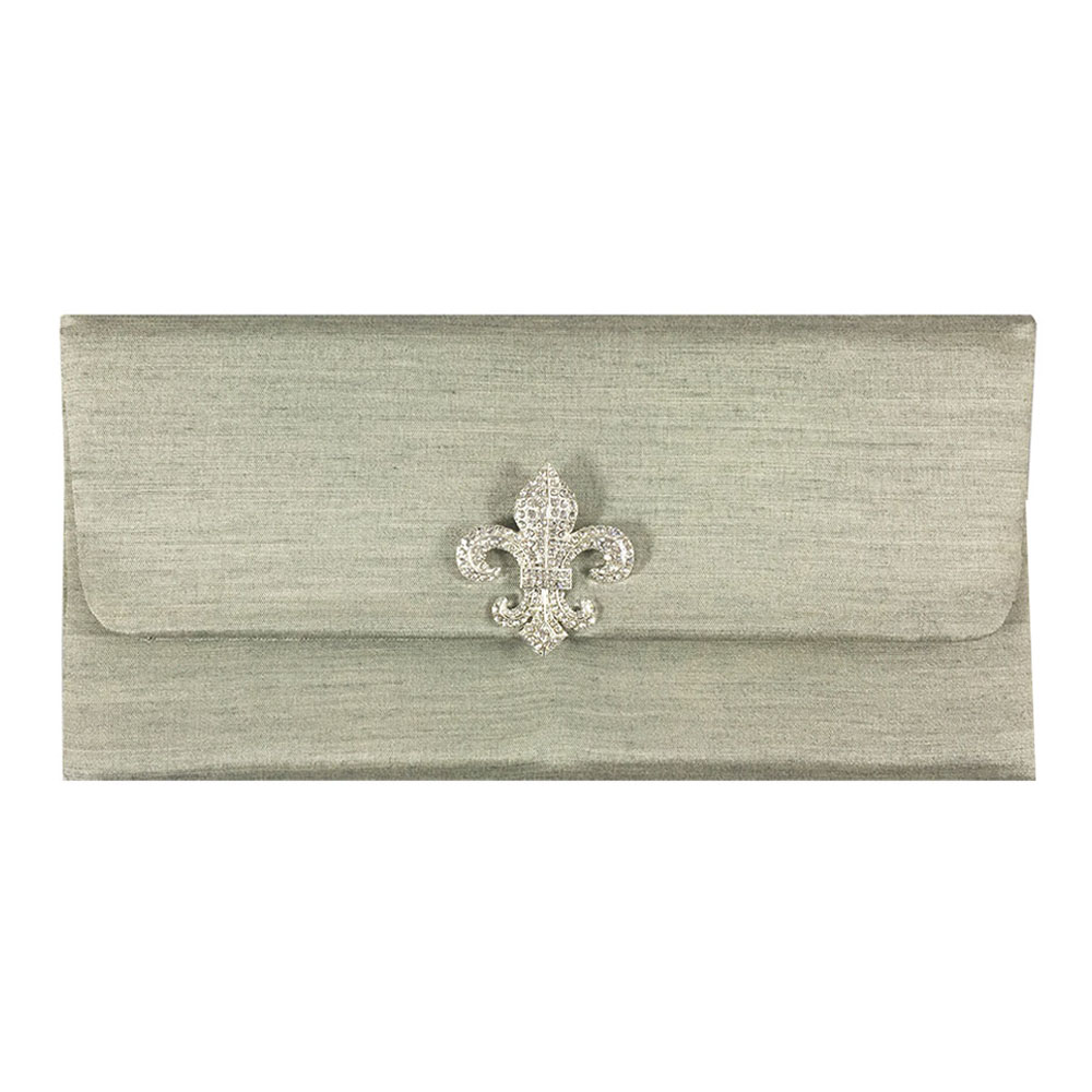 Light Moss Green Fleur De Lis Wedding Envelope