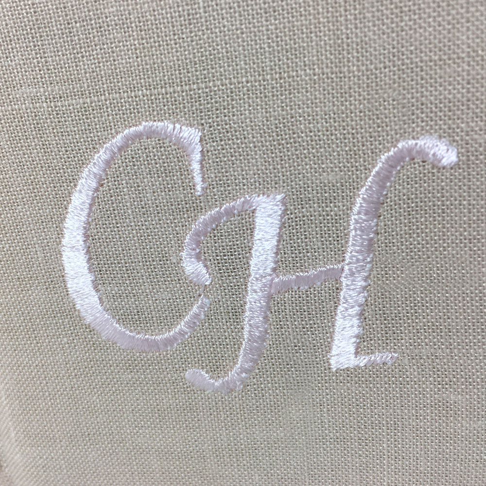Monogram embroidery on linen