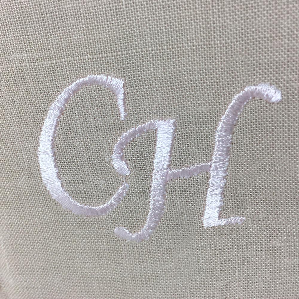 Monogram embroidery on linen