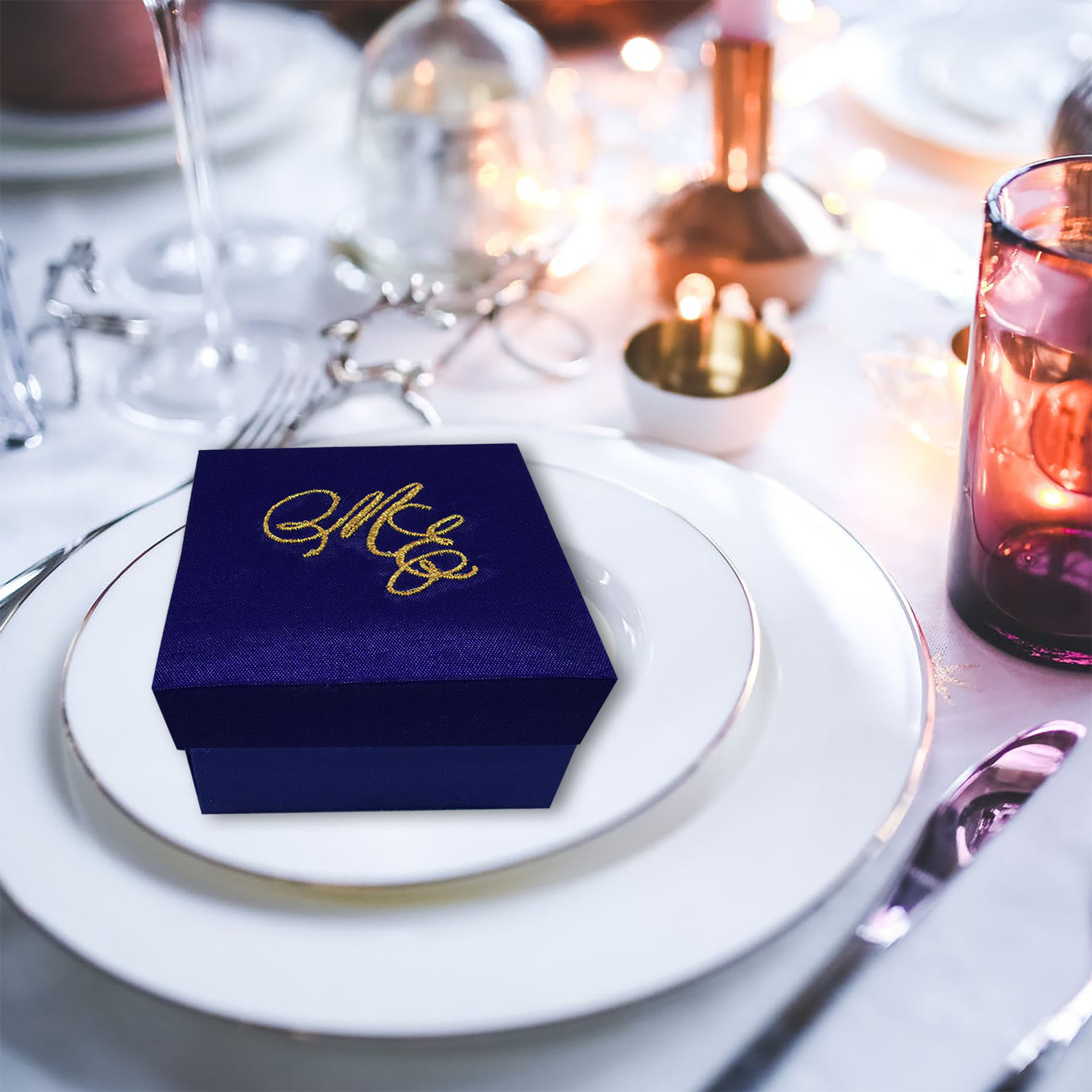 Personalized silk favor box for wedding with monogram embroidery