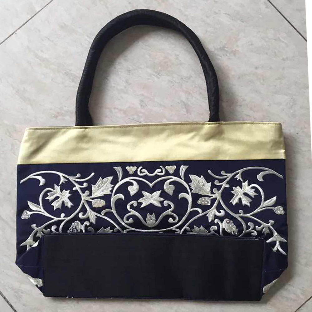navy blue silk bag