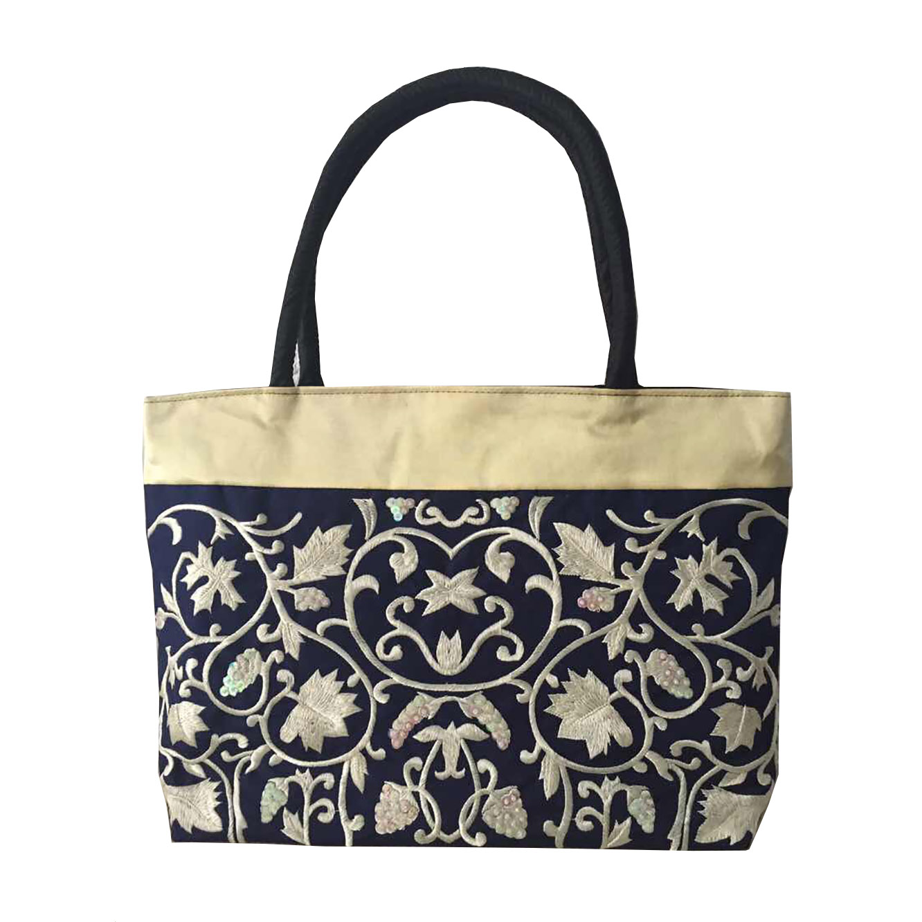 Navy Blue brocade Shoulder bag