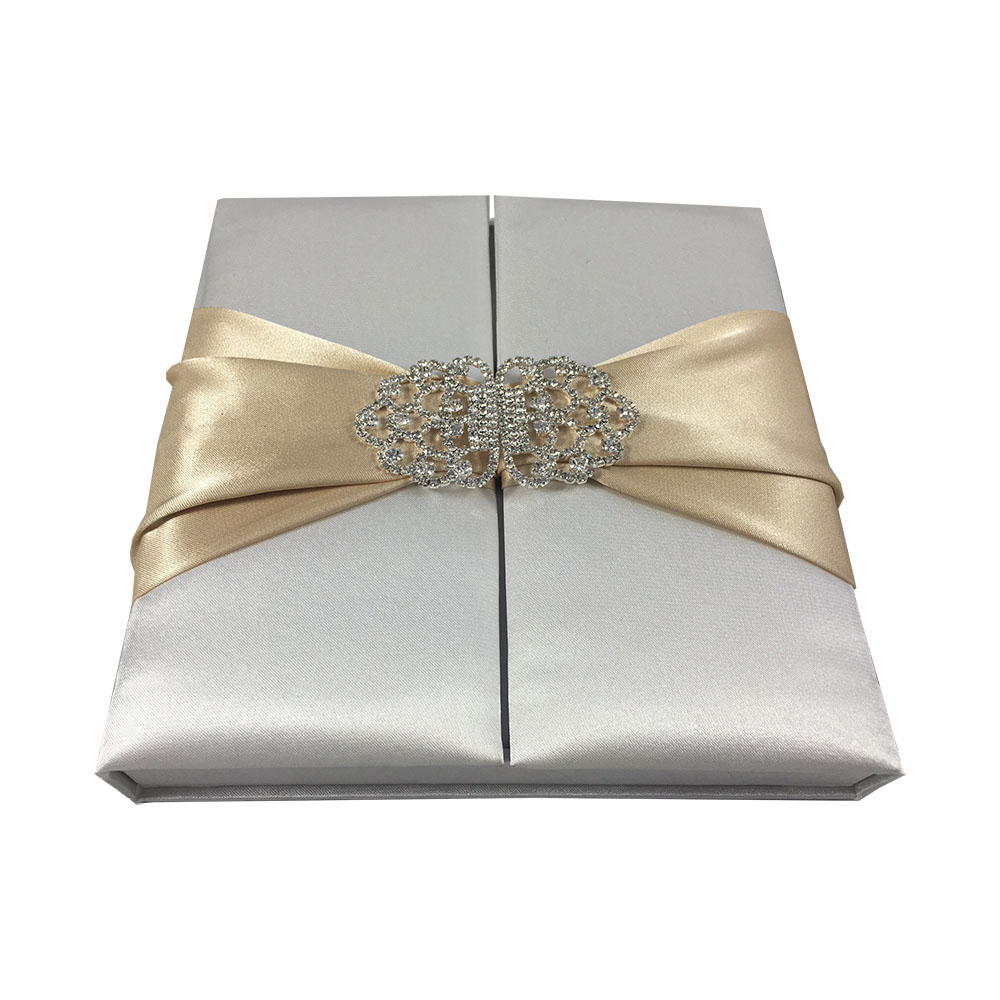 Silk Boxed Wedding Invitation In Off White