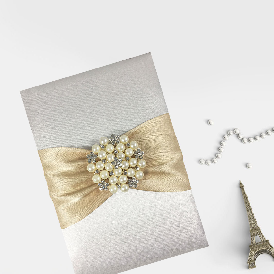 Pearl silk invitation design by Dennis Wisser