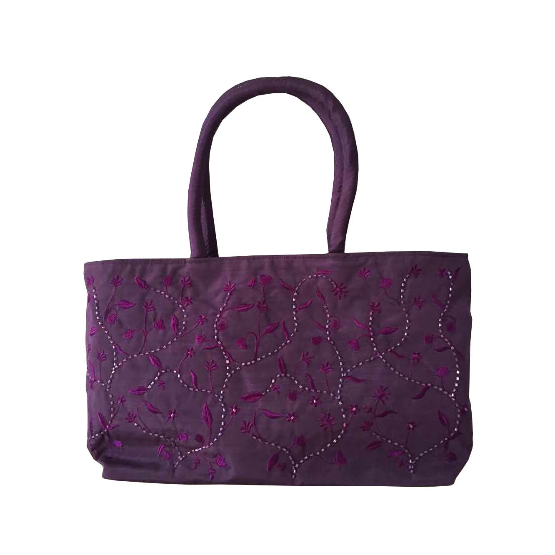Purple silk ladies bag