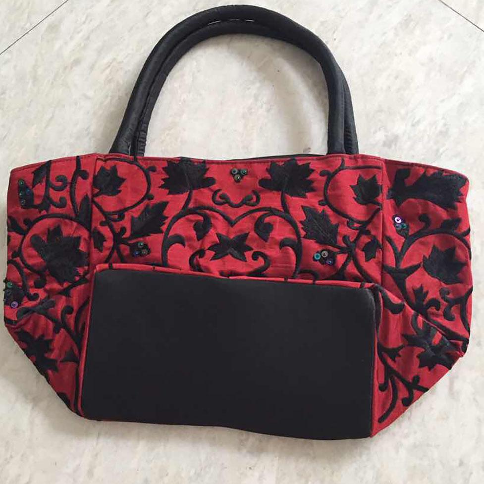 Embroidered Black & Red Silk Evening Bag - Luxury Wedding ...