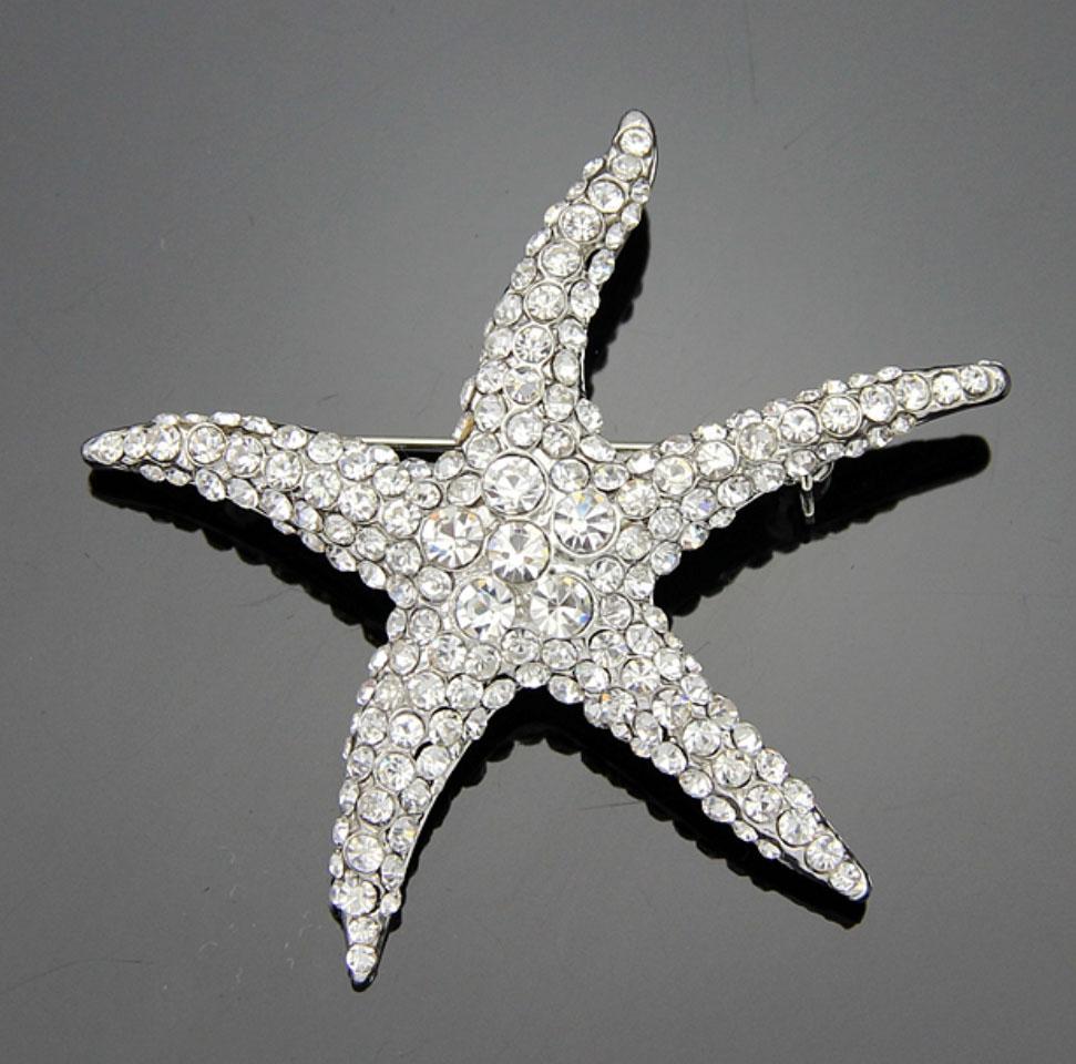 Rhinestone starfish brooch