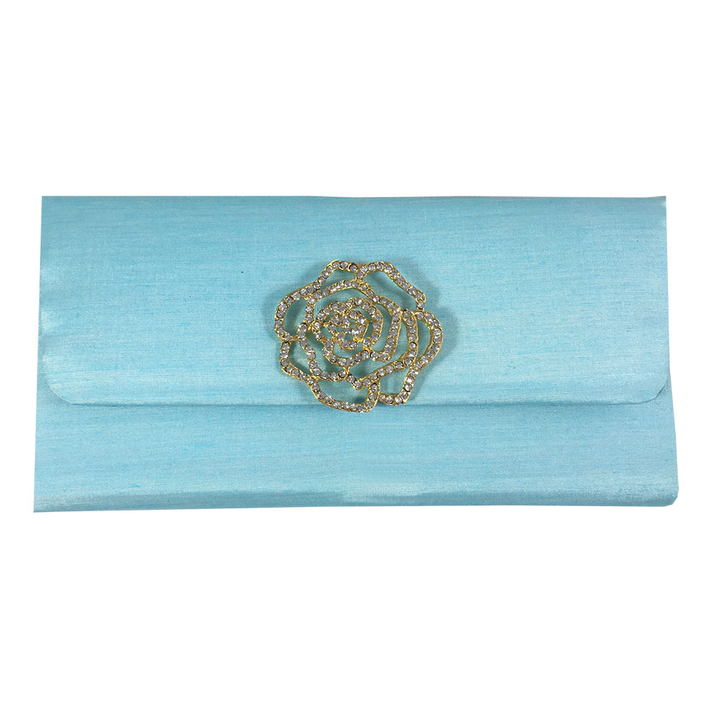 Light Blue Silk Wedding Envelope & Golden Rose Flower Brooch