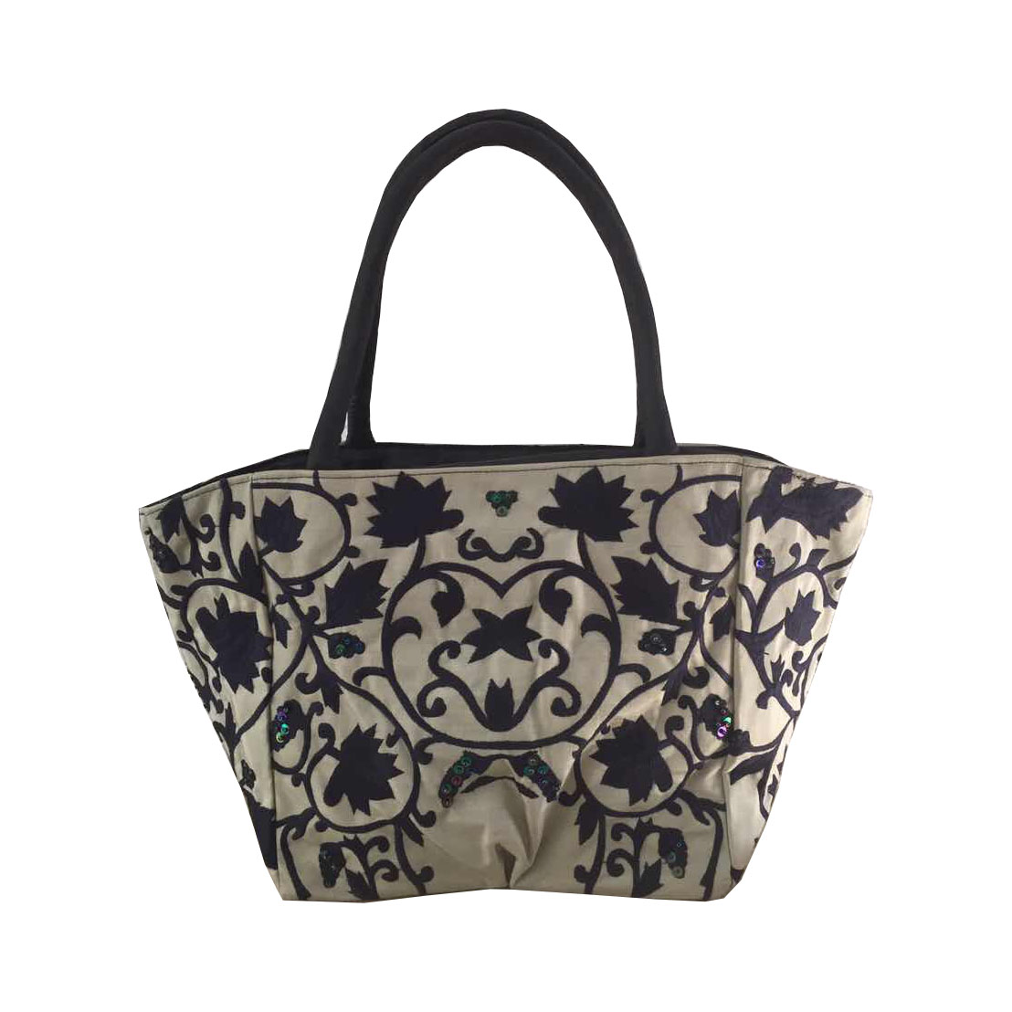 Embroidered Silver Silk Handbag