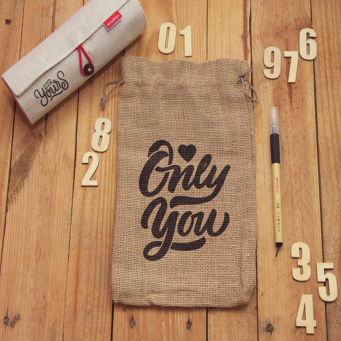 Printed Jute Drawstring Bags