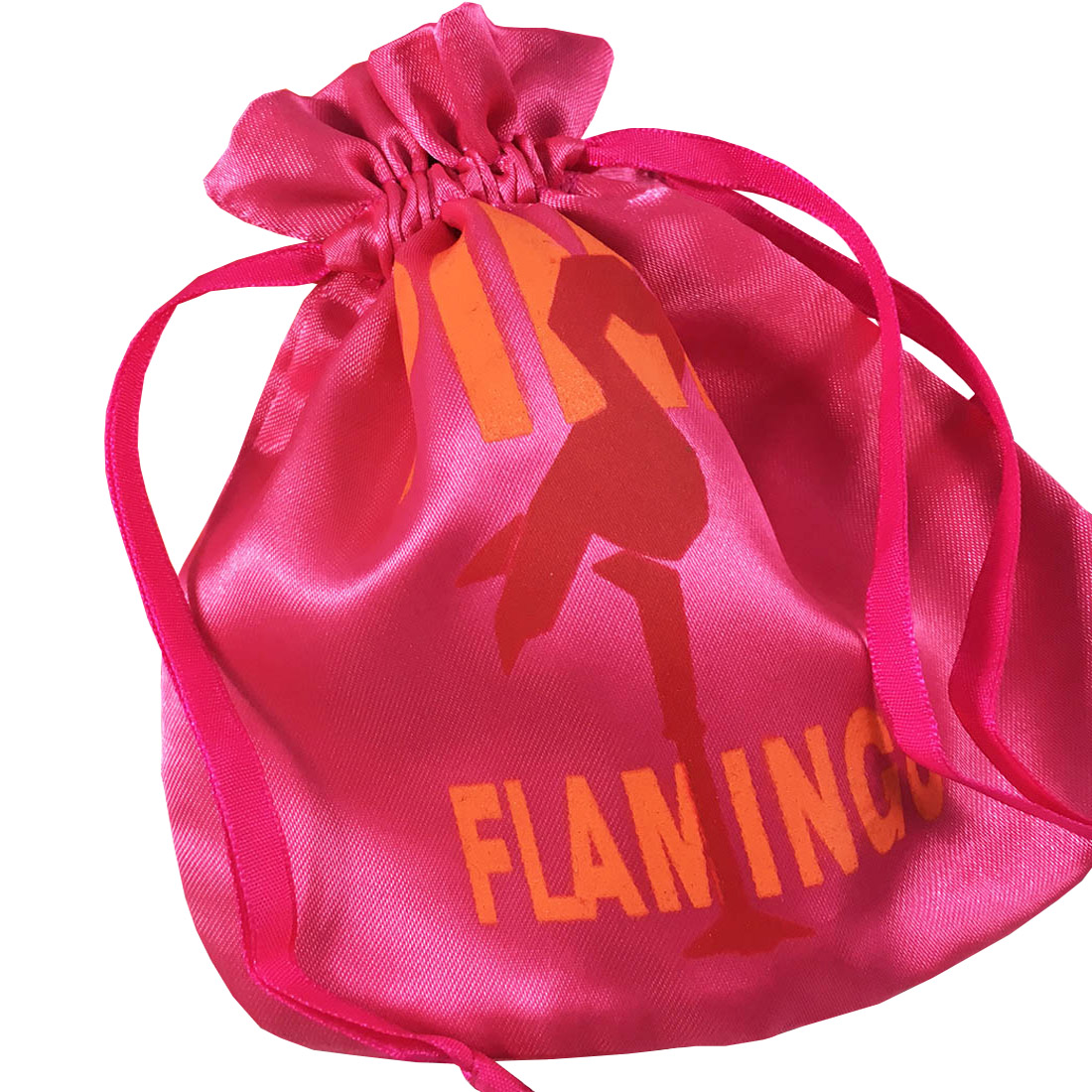 printed satin drawstring bag