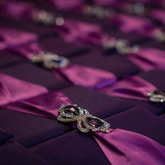 Purple invitation boxes