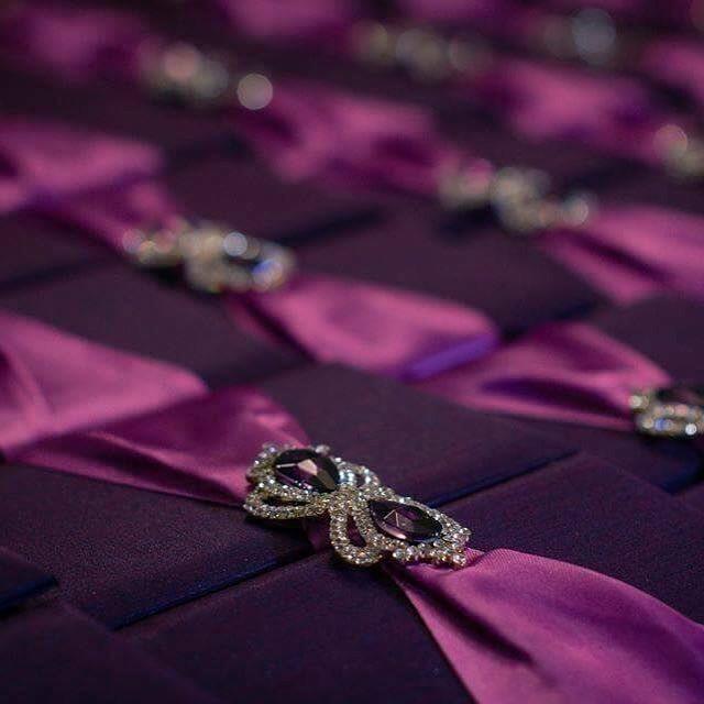 Purple invitation boxes