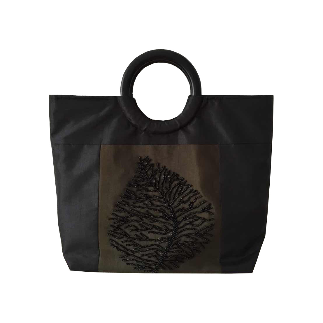 Black & Chocolate Brown Silk Bag