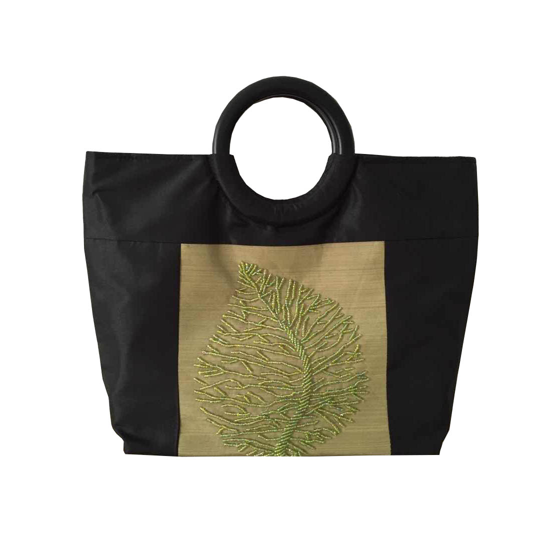 Black and green silk fashion bag
