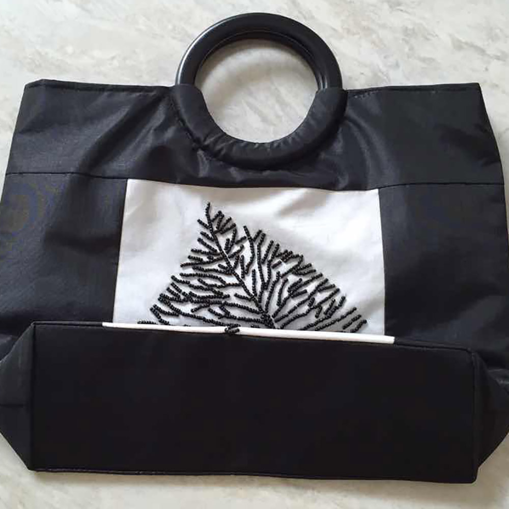 Black and white Vietnam silk handbags