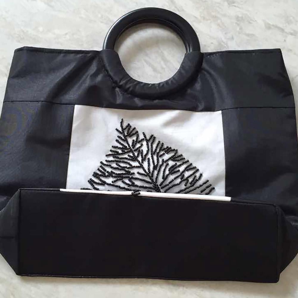 Black and white Vietnam silk handbags