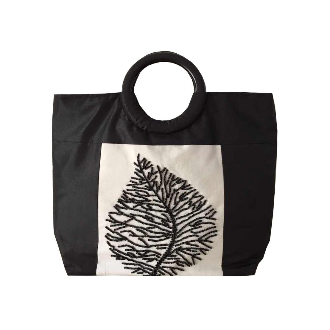 Black & white Vietnam silk bag