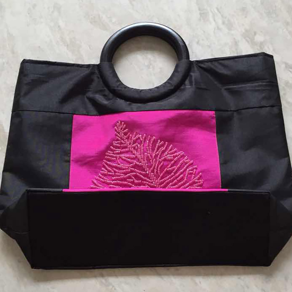 folded silk bag