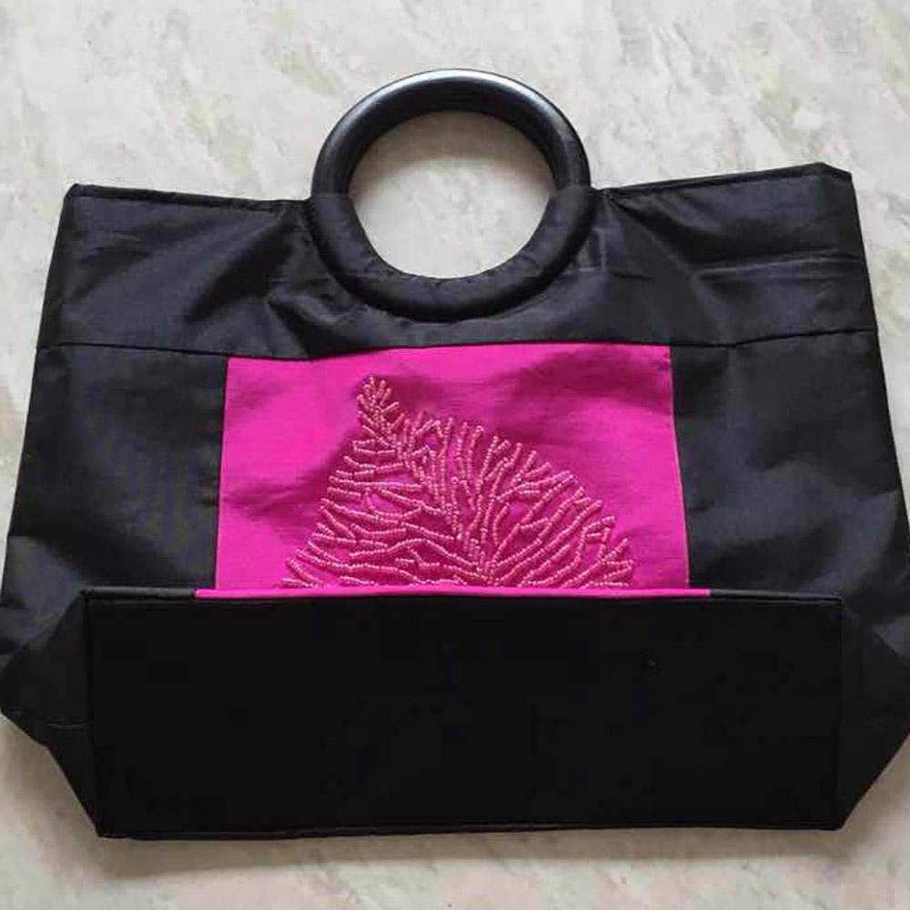 folded silk bag