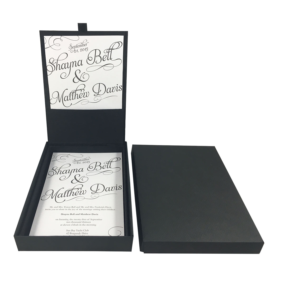 Luxury black embroidered wedding box & matching black mailing box