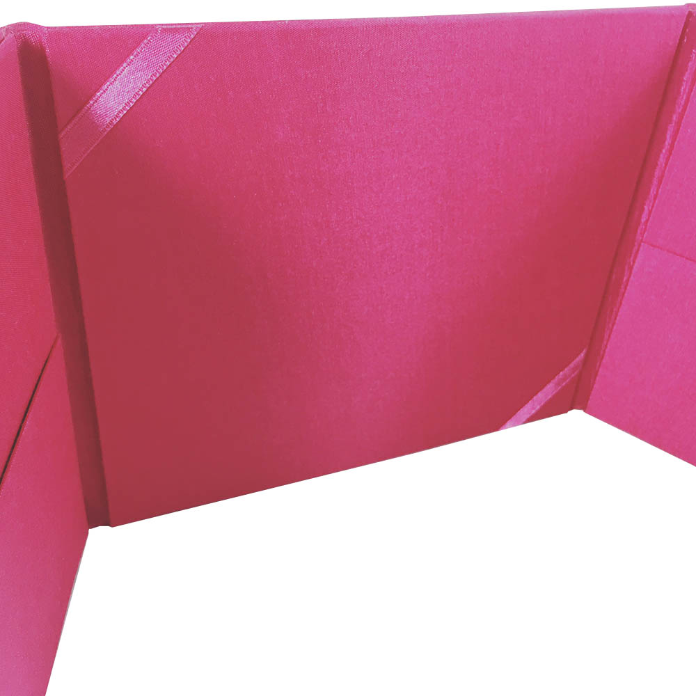 Luxury pink pocket fold silk invite for quince and wedding cards
